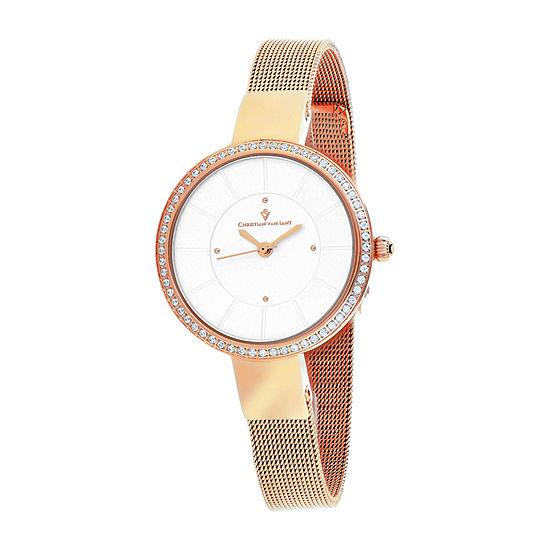 Christian Van Sant Womens Rose Goldtone Stainless Steel Bracelet Watch - Cv0221