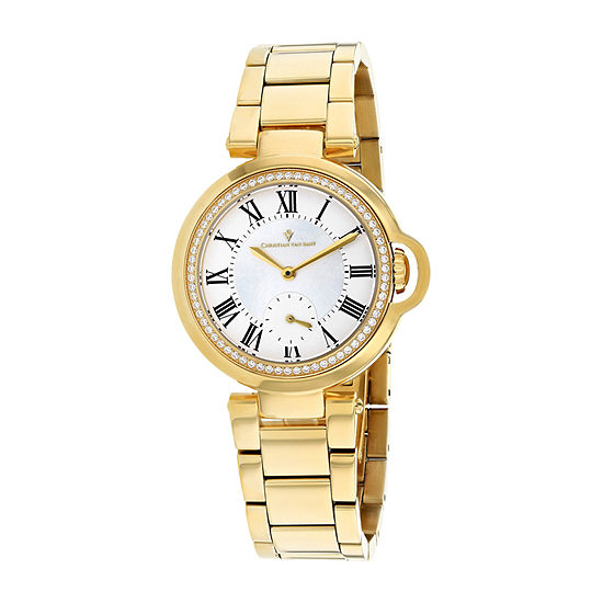 Christian Van Sant Womens Gold Tone Stainless Steel Bracelet Watch-Cv0231