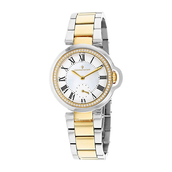 Christian Van Sant Womens Two Tone Stainless Steel Bracelet Watch-Cv0233
