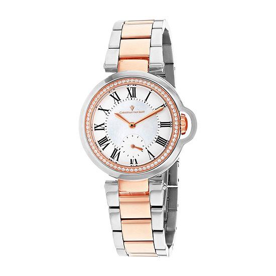 Christian Van Sant Womens Two Tone Stainless Steel Bracelet Watch - Cv0234