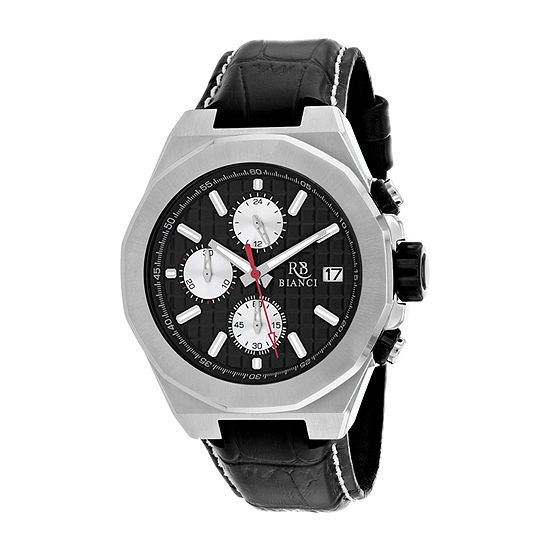 Roberto Bianci Mens Black Leather Strap Watch-Rb0130
