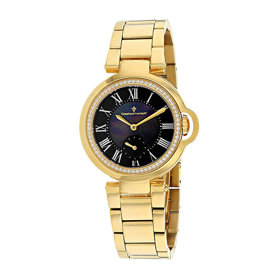 Christian Van Sant Womens Gold Tone Stainless Steel Bracelet Watch-Cv0235