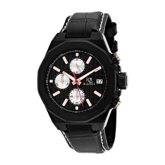 Roberto Bianci Mens Black Leather Strap Watch-Rb0132