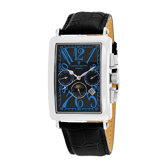 Christian Van Sant Mens Automatic Black Leather Strap Watch-Cv9135