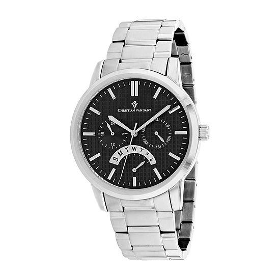 Christian Van Sant Mens Silver Tone Stainless Steel Bracelet Watch-Cv0321