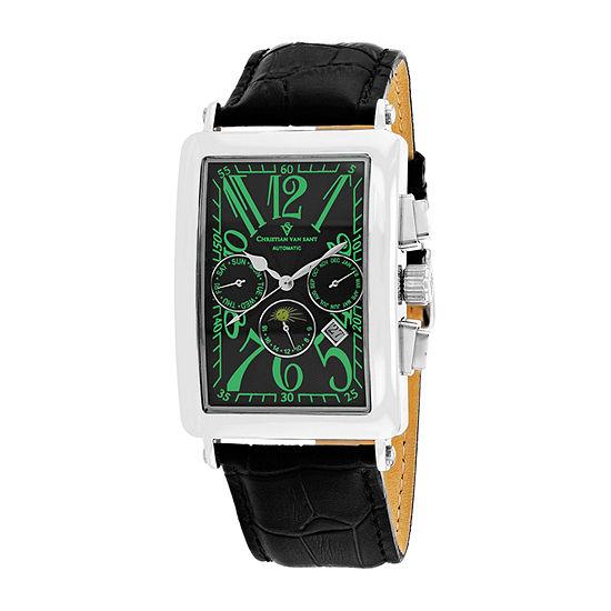 Christian Van Sant Mens Automatic Black Leather Strap Watch-Cv9136