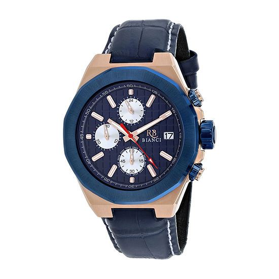 Roberto Bianci Mens Blue Leather Strap Watch-Rb0135