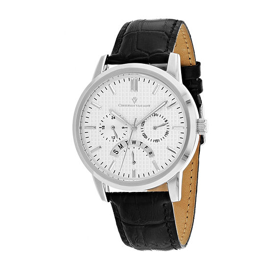 Christian Van Sant Mens Black Leather Strap Watch-Cv0323