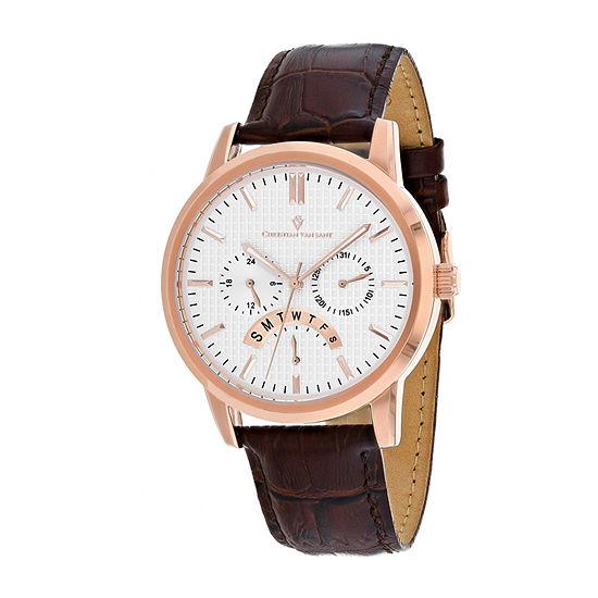 Christian Van Sant Mens Brown Leather Strap Watch-Cv0324