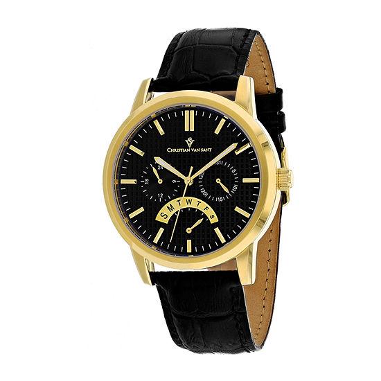 Christian Van Sant Mens Black Leather Strap Watch-Cv0325