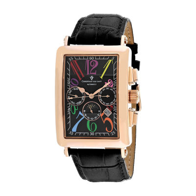 Christian Van Sant Mens Black Strap Watch-Cv9143