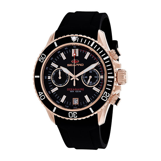 Sea-Pro Mens Black Strap Watch-Sp0333