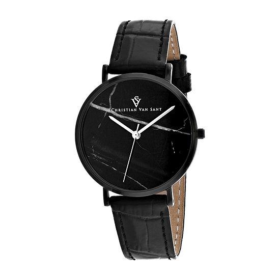 Christian Van Sant Mens Black Leather Strap Watch-Cv0424
