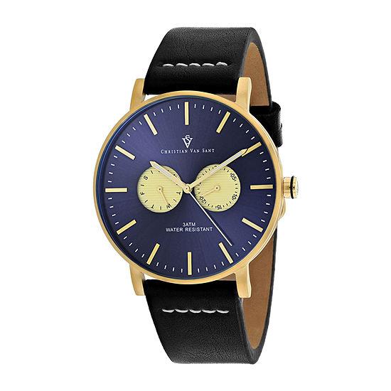 Christian Van Sant Mens Black Strap Watch-Cv0540