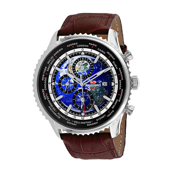 Sea-Pro Mens Brown Leather Strap Watch-Sp7131