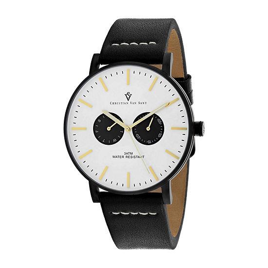 Christian Van Sant Mens Black Leather Strap Watch-Cv0541