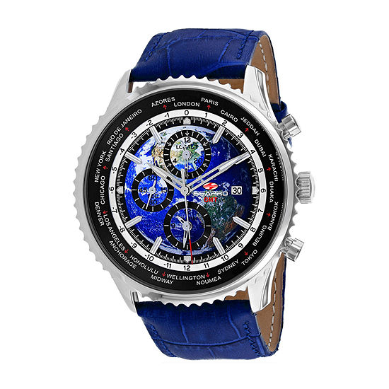 Sea-Pro Mens Blue Leather Strap Watch-Sp7132