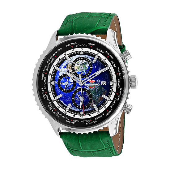 Sea-Pro Mens Green Leather Strap Watch-Sp7133