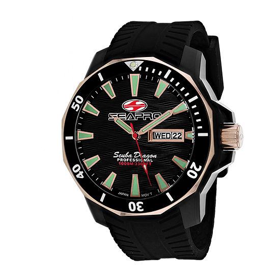 Sea-Pro Mens Black Strap Watch-Sp8320