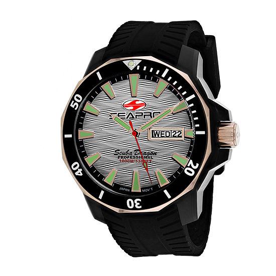 Sea-Pro Mens Black Strap Watch-Sp8321
