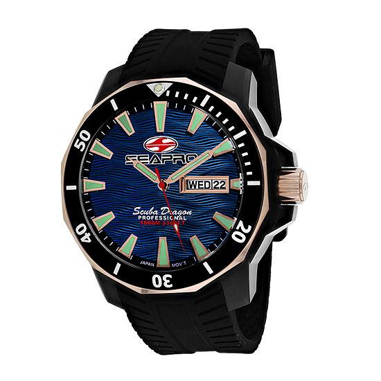 Sea-Pro Mens Black Strap Watch-Sp8322
