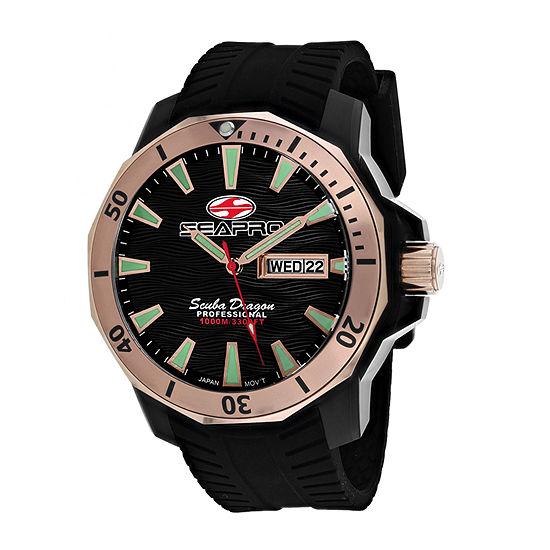 Sea-Pro Mens Black Strap Watch-Sp8323