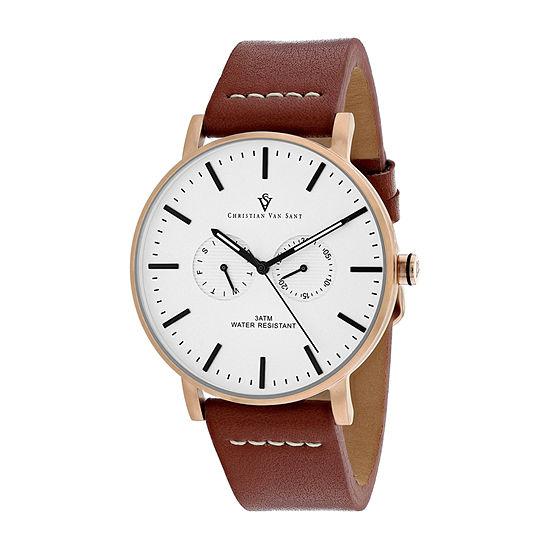 Christian Van Sant Mens Brown Leather Strap Watch-Cv0543