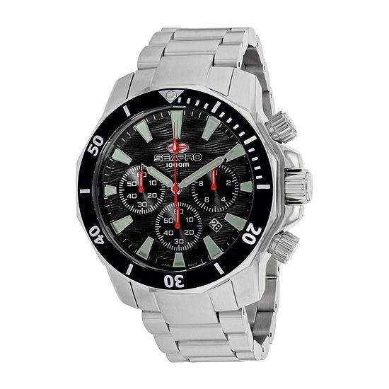 Sea-Pro Mens Silver Tone Stainless Steel Bracelet Watch-Sp8340