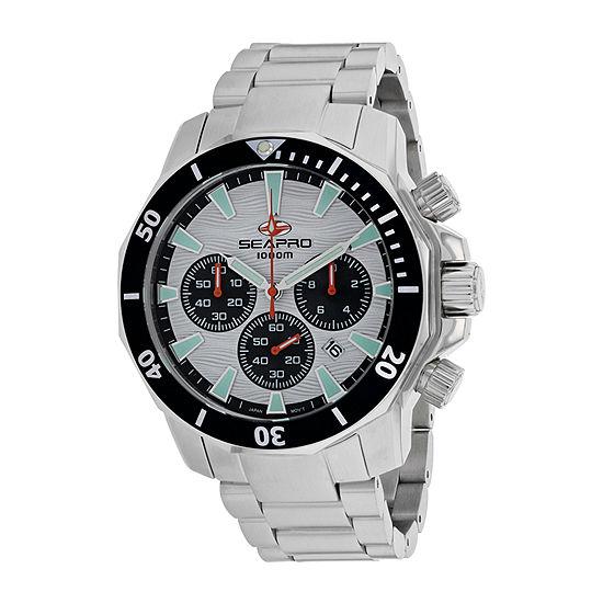 Sea-Pro Mens Silver Tone Bracelet Watch-Sp8342