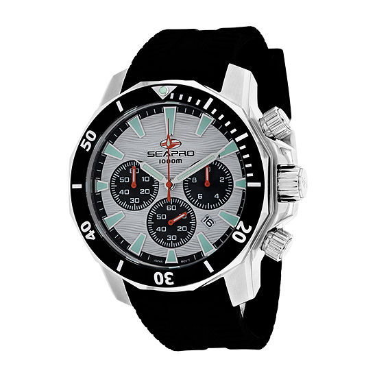 Sea-Pro Mens Black Strap Watch-Sp8342r