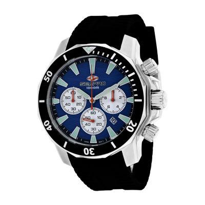 Sea-Pro Mens Black Strap Watch-Sp8345r