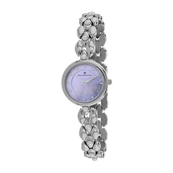 Christian Van Sant Womens Silver Tone Stainless Steel Bracelet Watch-Cv0612