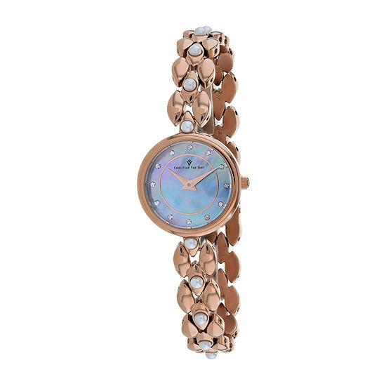 Christian Van Sant Womens Rose Goldtone Bracelet Watch Cv0614