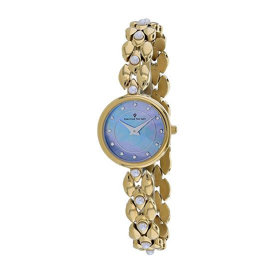 Christian Van Sant Womens Gold Tone Stainless Steel Bracelet Watch-Cv0617