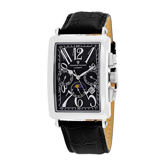 Christian Van Sant Mens Black Automatic Strap Watch-Cv9130