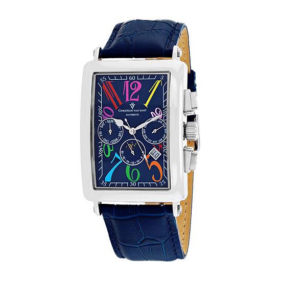 Christian Van Sant Mens Automatic Blue Leather Strap Watch-Cv9133