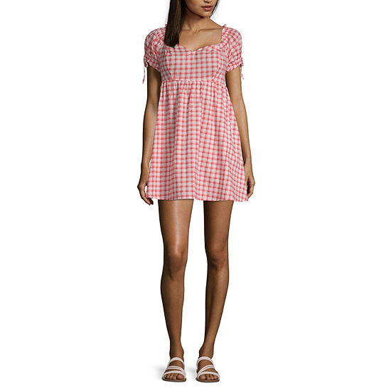 Arizona Short Sleeve Plaid Fit & Flare Dress-Juniors