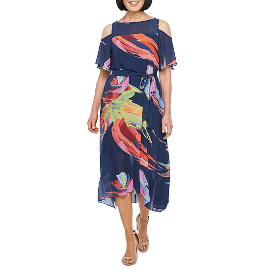 Robbie Bee Short Sleeve Cold Shoulder Abstract Fit & Flare Dress