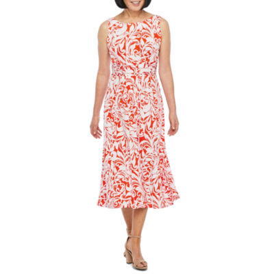 Perceptions Sleeveless Paisley Puff Print Fit & Flare Dress