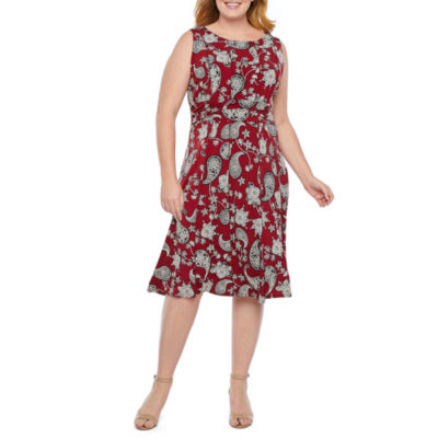 Perceptions Sleeveless Paisley Fit & Flare Dress-Plus