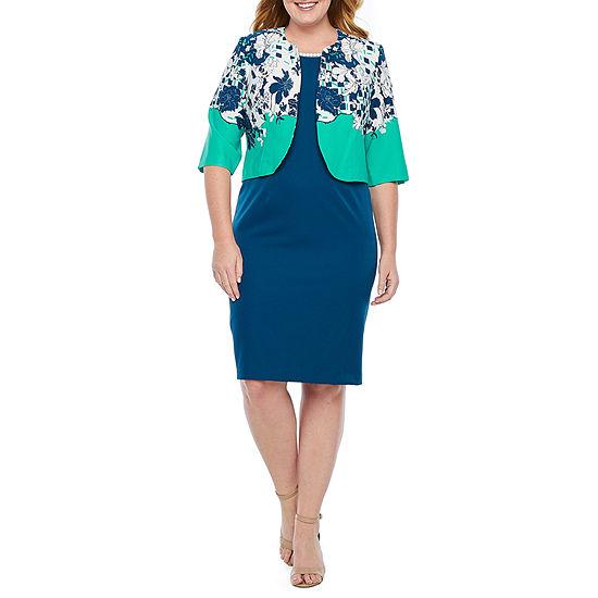 Maya Brooke 3/4 Sleeve Embellished Jacket Dress-Plus
