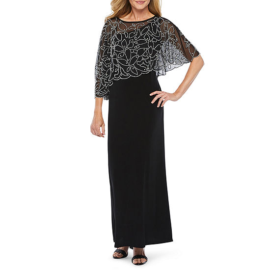 MSK 3/4 Sleeve Beaded Cape Evening Gown