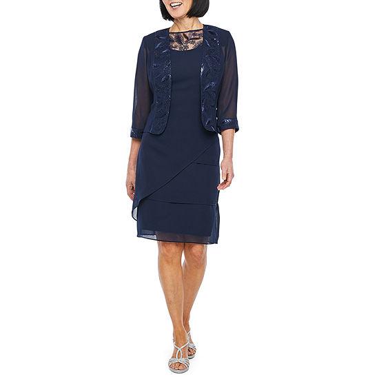 Maya Brooke 3/4 Sleeve Embroidered Midi Jacket Dress
