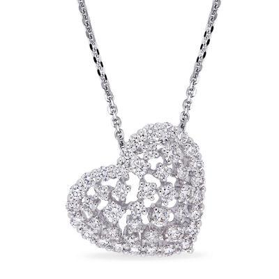 Womens 1 CT. T.W. Genuine White Diamond 14K White Gold Heart Pendant Necklace