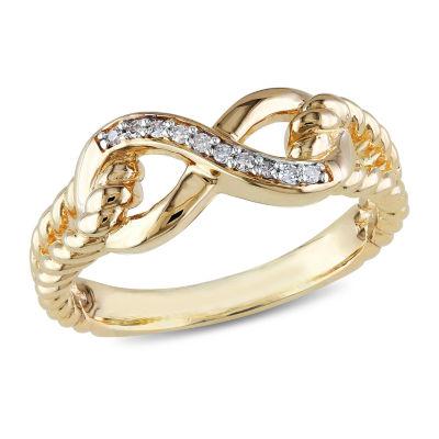 Womens Diamond Accent Genuine White Diamond 10K Gold Infinity Cocktail Ring