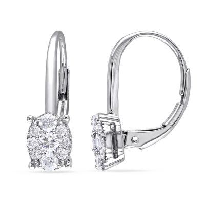 1/2 CT. T.W. Genuine White Diamond 14K White Gold Drop Earrings