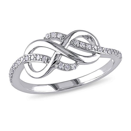 Womens 1/7 CT. T.W. Genuine White Diamond 10K White Gold Infinity Cocktail Ring