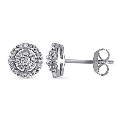 1/3 CT. T.W. Genuine White Diamond 10K White Gold 7.6mm Oblong Stud Earrings