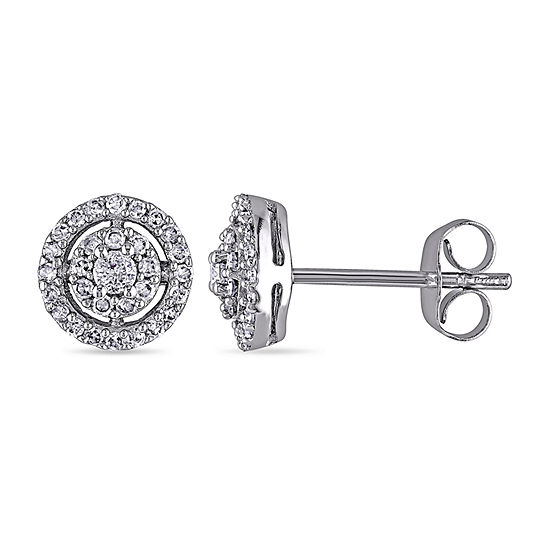 1/3 CT. T.W. Genuine White Diamond 10K White Gold 7.6mm Oblong Stud Earrings