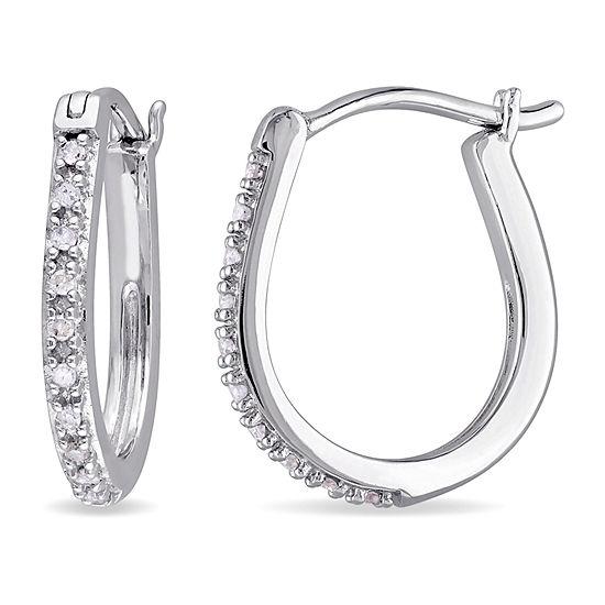 1/10 CT. T.W. Genuine White Diamond 10K White Gold 16.2mm Hoop Earrings
